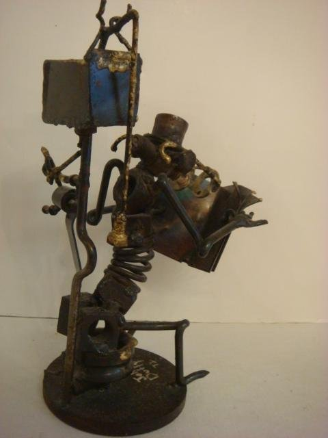 "Whimsical ""Found"" Metal Sculpture by JOHN DUFFY: - 4"