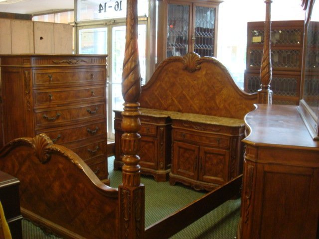five piece burl wood king size bedroom set