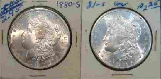 TWO US MORGAN SILVER 1880S & 1881S, Both MS63: