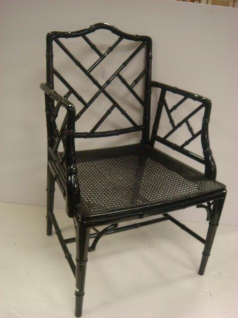 Faux Bamboo Chair with Cane Seat:
