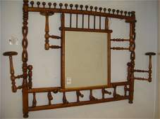 Victorian Hanging Hat Rack with Mirror: