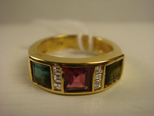 18K Gold Ring With Green, Red, Blue Tourmalines: