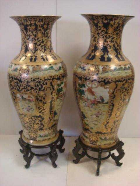 Pair of Large Asian Floor Vases with Stands: Floor Vase Asian on large vases, asian paintings, oriental style vases, asian bamboo, japanese tall vases, tall clay vases, big decorative vases, oversized vases, asian bowls, vintage glass vases, asian clothing, asian clocks, asian floor beds, asian mirrors, asian lamps, oriental porcelain vases,