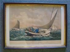 """Vintage CURRIER & IVES """"Trolling For Bluefish"""":"""