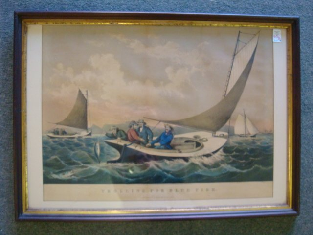 "Vintage CURRIER & IVES ""Trolling For Bluefish"":"