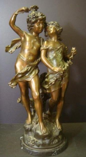 """Sculpted Bronze """"Young Lovers"""" After AUGUSTE MOREAU:"""