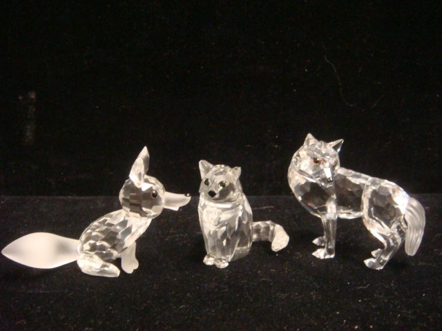 SWAROVSKI Crystal Cat, Fox and Wolf Figurines: