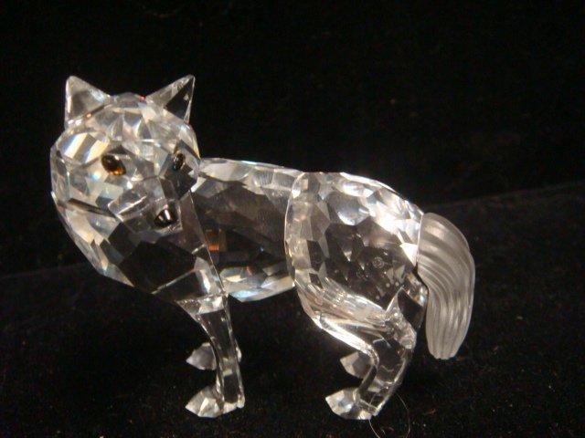 SWAROVSKI Crystal Cat, Fox and Wolf Figurines: - 2