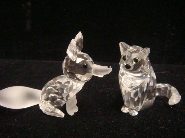 SWAROVSKI Crystal Cat, Fox and Wolf Figurines: - 3