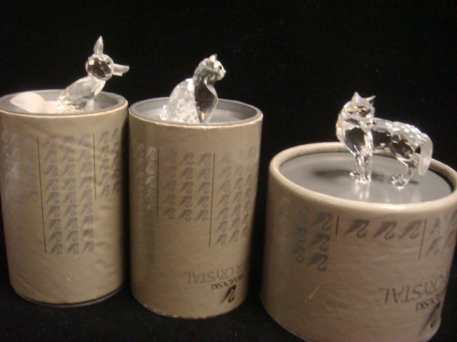 SWAROVSKI Crystal Cat, Fox and Wolf Figurines: - 4