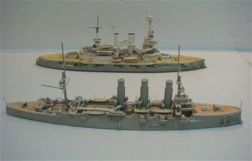Two Papercraft Models of World War I Warships: