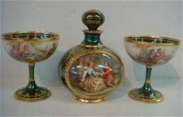 DRESDEN Hand Painted Sherbets & Perfume Decanter: