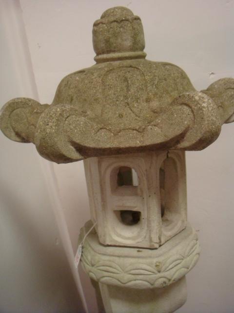 Concrete Pagoda Form Garden Lantern: - 2