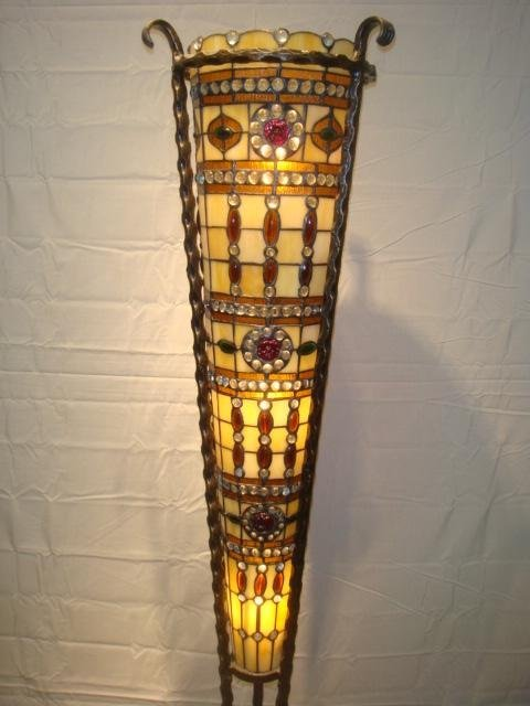 "Shaped Stained Glass Floor Lamp 66"" Tall"