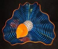 Hand Blown DALE CHIHULY Maya Blue Persian Pair: