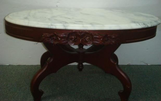 carved mahogany oval marble top coffee table:
