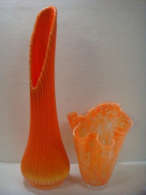 Orange Handkerchief Vase & Blenko Style Funeral Vase: