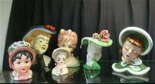 Six Assorted Ceramic Head Vases