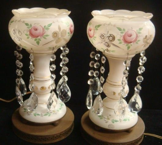 Pair of Electrified Rose Motif Lusters: White Painted