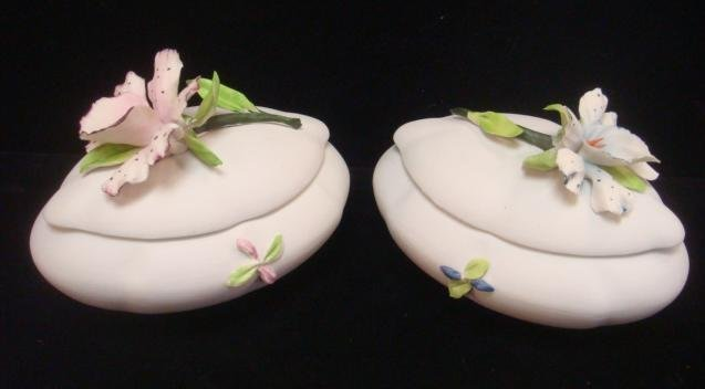 Two CAPO DI MONTE Bisque Trinket Boxes with Orchids: