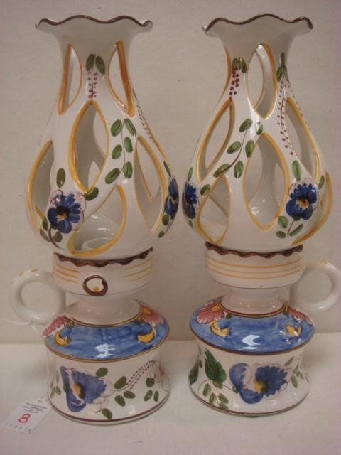 Pair of Hand Painted Ceramic 2 pc. Candle Holders: Made