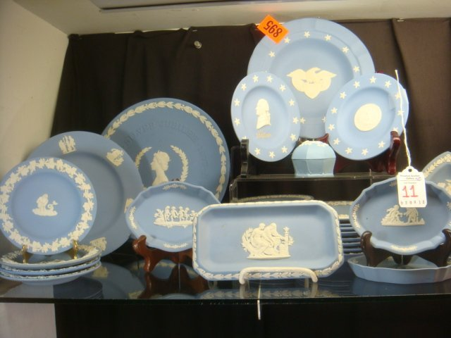 WEDGWOOD and Other Blue Jasperware Pieces: 40 Pcs.