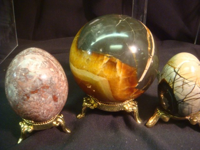 "Picasso Stone, Pigeonite and Onyx Sphere: 2 1/2""Dia."