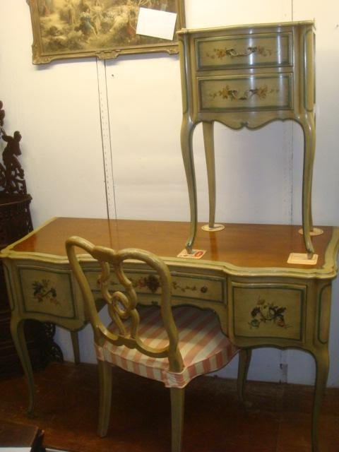 JOHN WIDDICOMB Desk, Chair and Nightstand: French