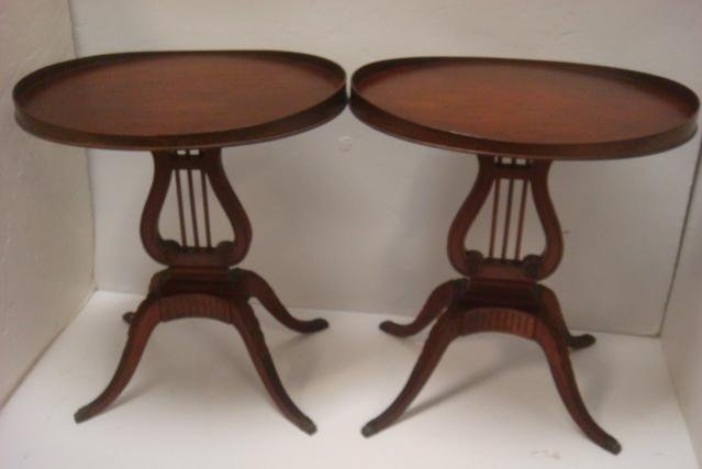 Pair of MERSMAN Mahogany Lyre Base Tables #6651: Oval