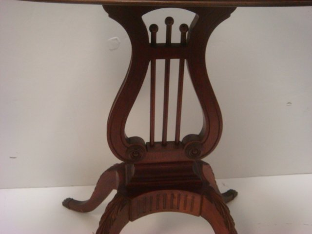 Pair of MERSMAN Mahogany Lyre Base Tables #6651: Oval - 2