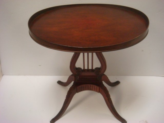 Pair of MERSMAN Mahogany Lyre Base Tables #6651: Oval - 4
