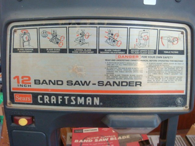 "CRAFTSMAN 12"" Band Saw/Sander with Table: - 3"