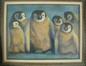 """KATHY FERRIS """"The Breakfast Club"""" Penguins Pastel:"""