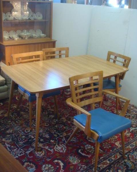 Mid Century Modern Six Piece Dining Set: