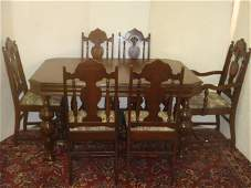 7 Pc Walnut Dining Set REFECTORY Table w6 Chairs