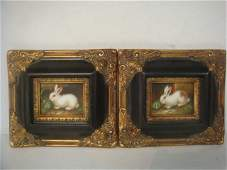 Two  Bunny Oil on Board in Black  Gold Painted Frames