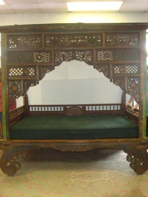 """Heavily Carved Antique Javanese Wedding """"Opium"""" Bed:"""