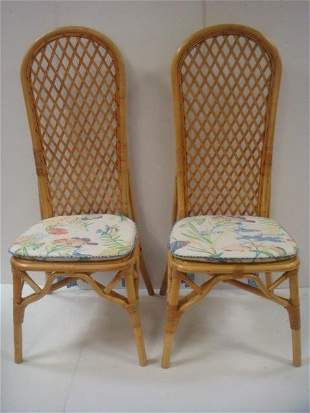 Pair of High Back Bamboo Chairs: