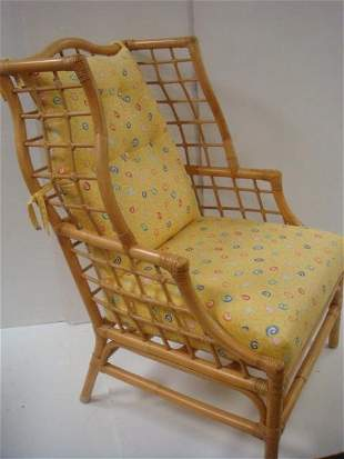 High Back Bamboo and Rattan Arm Chair with Cushion: