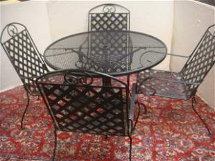 Round Black Wrought Iron Table with Four Chairs: