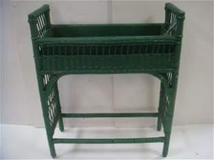 Vintage Forest Green Wicker Planter: