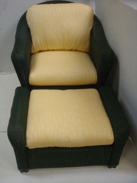 LLOYD LOOM Wicker Chair and Ottoman: