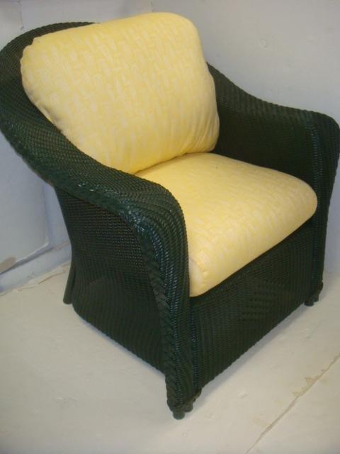 LLOYD LOOM Wicker Chair and Ottoman: - 2