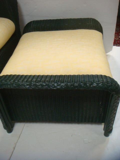 LLOYD LOOM Wicker Chair and Ottoman: - 3