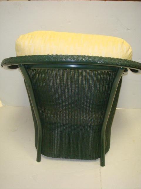 LLOYD LOOM Wicker Chair and Ottoman: - 4