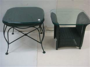 Two LLOYD LOOM Wicker Glass Topped Tables: