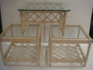 Three White-Washed Bamboo & Rattan Side Tables: