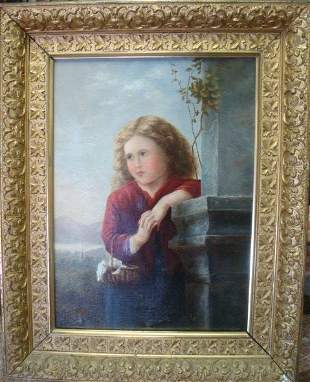 Unsigned 19th C. Oil on Canvas Portrait of Young Girl:
