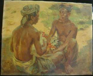 KV MAYR Oil on Canvas of Bali Men with Gamecocks: