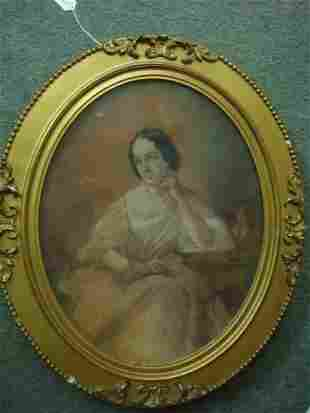 Unsigned Pastel Of Seated Female on Vellum: